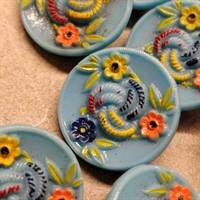 18 mm. Blomster glas knap. Flower glass button.