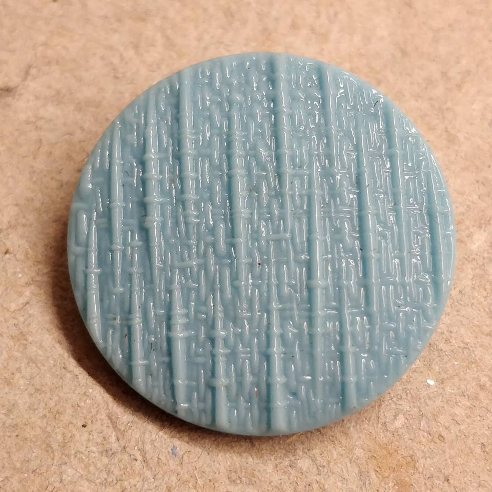 27 mm. Turkis blå glas knap, turquoise glass button.