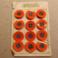 26 mm. orange glas knap.